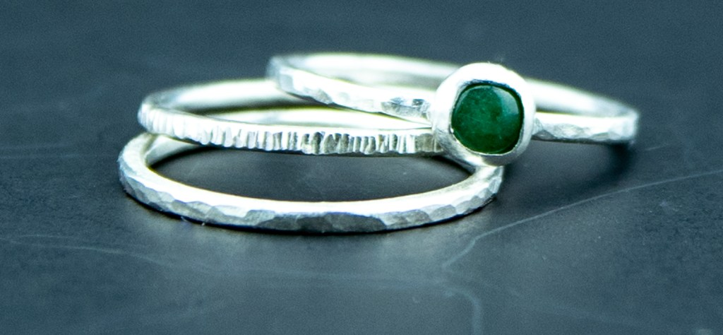 aventurine and sterling silver stacking rings