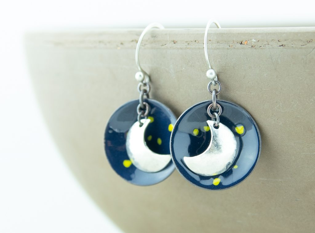 night sky silver moon enamel earrings