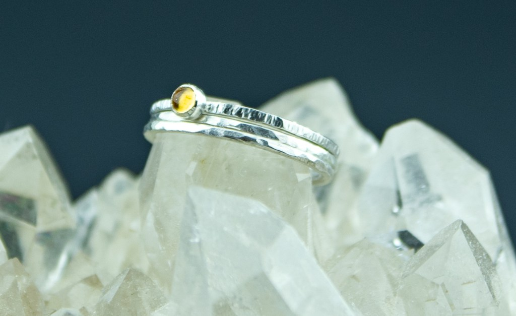 set of three sterling silver stacking rings with citrine and hammered texture