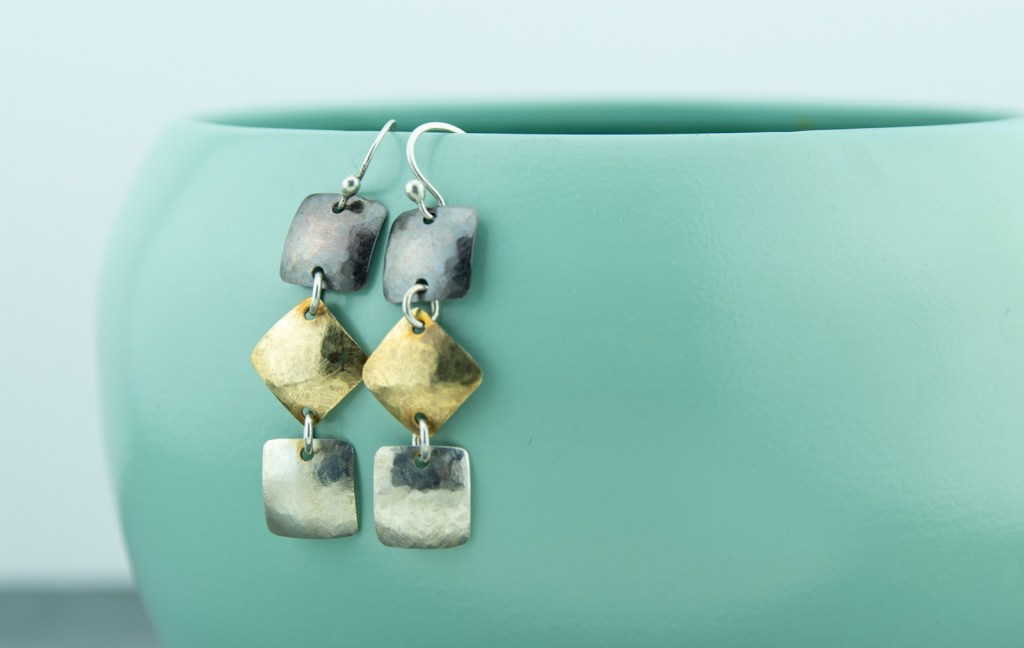 mixed metal squares dangle earrings