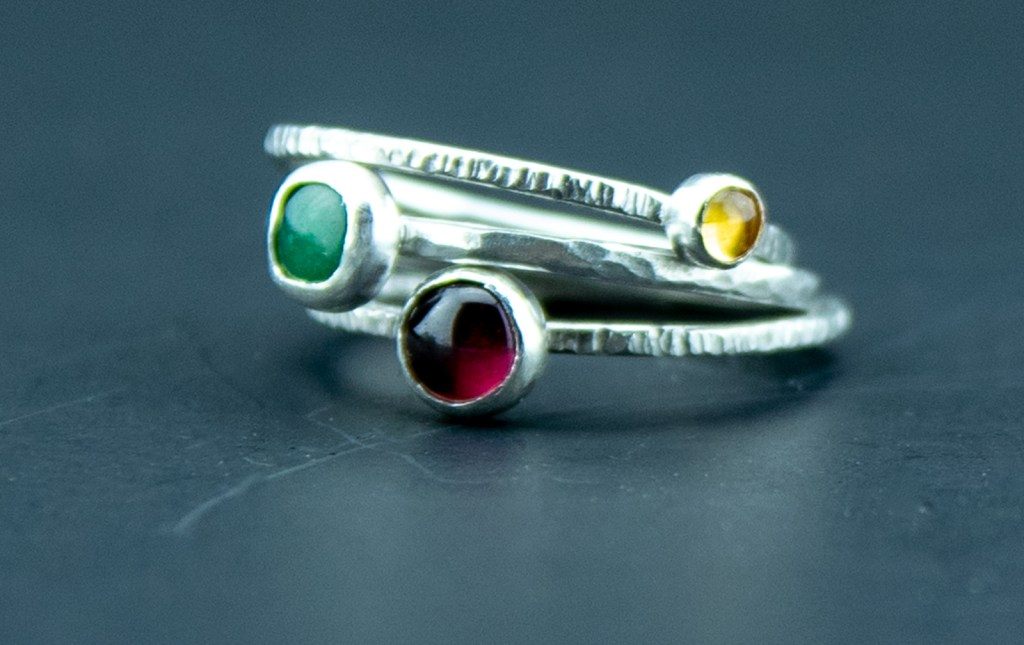 mixed multi color gemstone rings