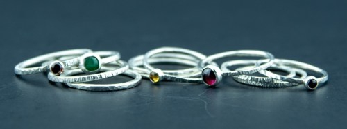 mixed sterling silver and gemstone rings