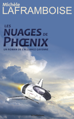 cover of the novel featuring clouds and flying ship / Couverture des nuages de Phoenix