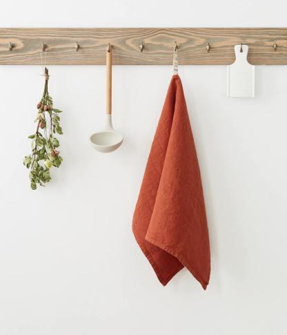 torchon lin 100% rouge terre cuite, terra cotta