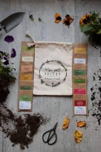 kit cadeau pour amoureux des plantes : calendrier du jardinier 2019, 12 sachets de graines bios en papier kraft, 1 pochette en coton bio MADE IN FRANCE