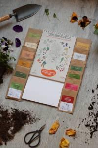 box jardinage pour jardiner avec la lune sur un balcon, calendrier du potager sur balcon, avec liste des plantes à faire pousser dans un potager, impression couleur, petit format, papier recyclé, made in france
