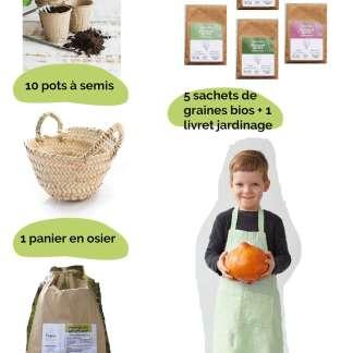 kit box jardinage panier enfant échoppe végétale, tablier lin, panier osier enfant