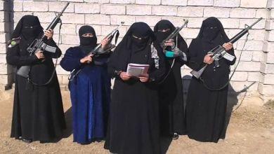 صورة الحزام الناسف والبنادق مهر الداعشيات في سرت بليبيا