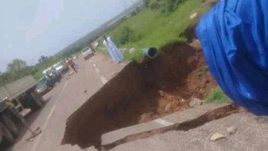 صورة قطع الطريق بين سيلبابي وكوري بسبب السيول