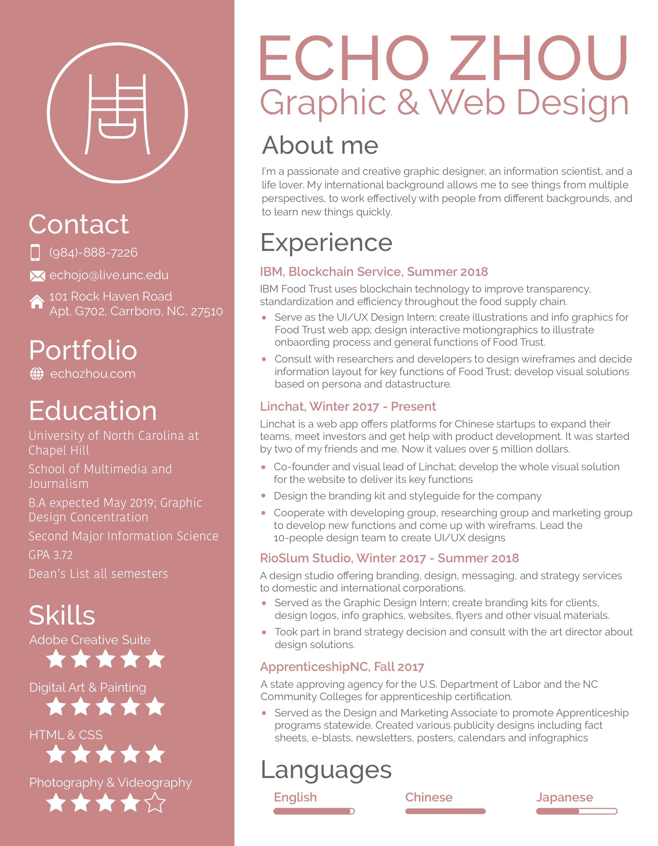 My Resume. Echo's Portfolio. About Me · Design