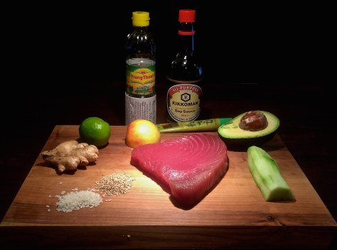 Thunfisch-Avocado-Wasabi-Gurken-Apfel-Salat-Zutaten
