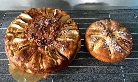 Herbstlicher Apfelkuchen aus Ruehrteig mit Zimt Kardamon und Walnuessen