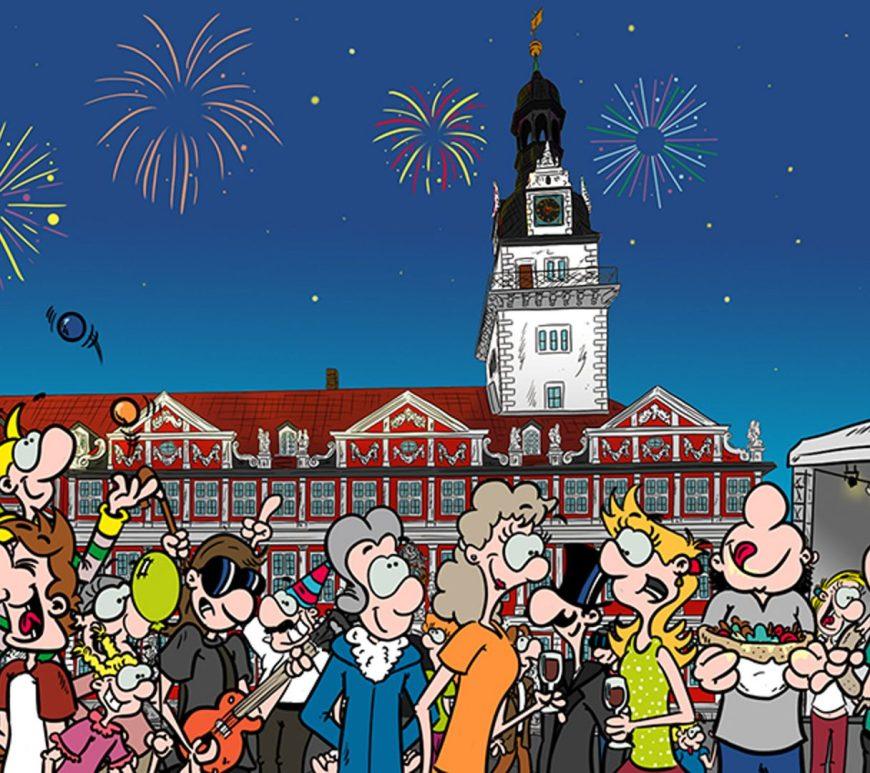 Comic von Jubiläumsfeier vor dem Wolfenbütteler Schloss