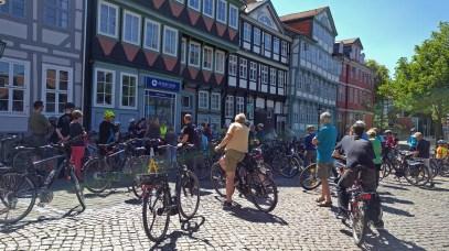 Start der Radtour auf dem Stadtmarkt