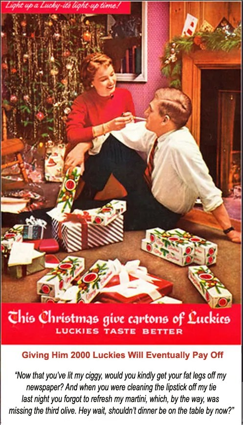 Revised Vintage Lucky Strike Christmas Ad 1950's ecigarette news
