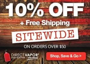 DirectVapor 10 off freeship over 50 dollars