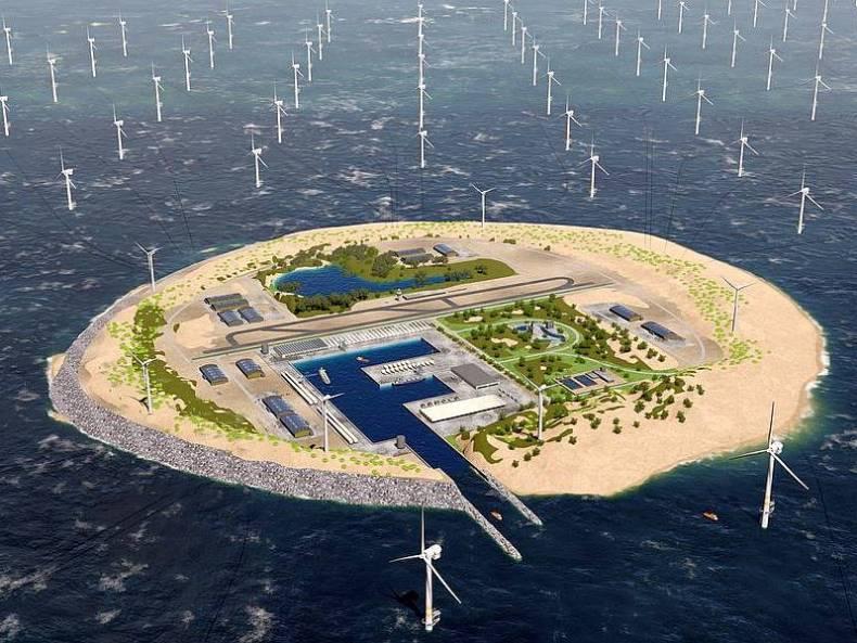 So stellt sich der niederländische Energieversorger Tennet eine künstliche Insel in der Nordsee vor. Foto: Tennet/PR
