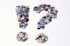 Punctuation marks made of puzzle pieces