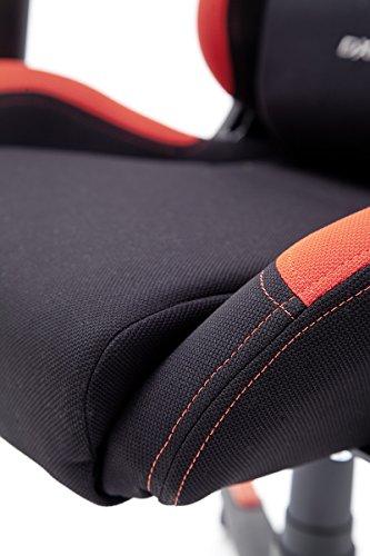DX Racer1, Bürostuhl, Gaming Stuhl, Schreibtischstuhl, Chefsessel mit Armlehnen, Gaming chair, Gestell Nylon, 78 x 124-134 x 52 cm, Stoffbezug schwarz / rot -