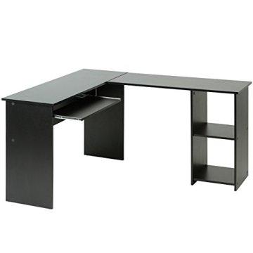 Eckschreibtisch Schreibtisch Bürotisch mit ausfahrbarer Tastaturablage in 4 verschiedenen Farben -