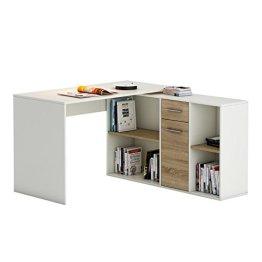 Eckschreibtisch Schreibtisch Winkelschreibtisch DIEGO mit Regal in Sonoma Eiche/weiß Kinderschreibtisch -