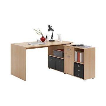 FMD Möbel 353-001 Winkelkombination Lex, (B/H/T) Tisch:136 x 75 x 68 cm,it Regal 137 x 71 x 33 cm, buche -