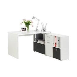 FMD Möbel 353-001 Winkelkombination LEX Tisch circa 136 x 75 x 68 cm, montiert Regal circa 137 x 71 x 33 cm, weiß -