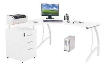 hjh OFFICE 673404 Eckschreibtisch CASTOR mit Stand-Container Hochglanz weiß -