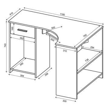 Schreibtisch Eckschreibtisch PC Tisch SILVIA in weiß mit Tastaturauszug und Schublade, 117x74x78 cm -