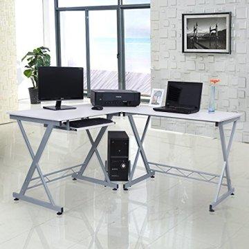 Songmics Computerschreibtisch Computertisch Schreibtisch Bürotisch Computertisch Arbeitstisch Freizeittisch PC Tisch weiß für das Home Office, 150 x 138 x 75 cm, LCD402W -