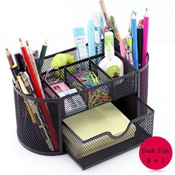 Vonimus Schreibtisch Tidy, Tisch-Organizer / Mesh Spezifische Caddy Schreibtisch Organizer Set Büro Tidy Organizer Metall Bleistift Topf Bleistift Halter (schwarz) -