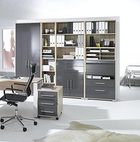 arbeitszimmer komplett set maja system 1203 buromobel in eiche sonoma hochglanz grau