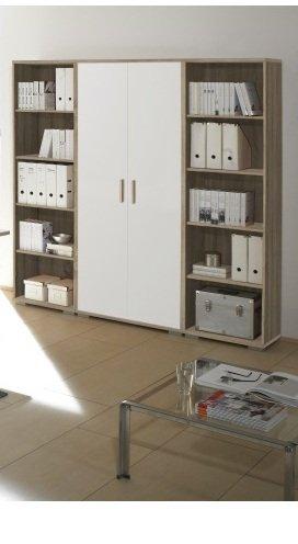 Arbeitszimmer Möbel komplett Set Büro Büromöbel Office Line in Eiche Sonoma / Weiss Glanz 7-teilig -