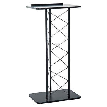 Homcom® Rednerpult Stehpult Lesepult Konferenztisch Metall Schwarz 60x40x120cm (Schwarz) -
