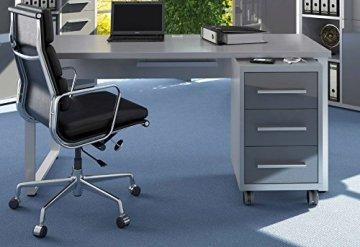 Komplettes Arbeitszimmer - Büromöbel Komplett Set Modell 2018 MAJA SET+ in Platingrau / Grauglas (SET 11) - Büromöbel Komplett Angebot, büromöbel kombination, büromöbel komplett programm, Büro komplettset, Möbel set,