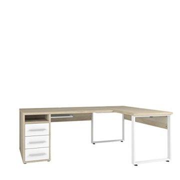 Komplettes Arbeitszimmer - Büromöbel Komplett Set Plus Modell 2017 MAJA SET+ in Eiche Natur / Weißglas (SET 4) -