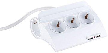 revolt Steckdose mit USB: Schaltbare 5-fach-Steckdosenleiste, 2 USB-Ladeports, Smartphone-Ablage (Tischsteckdose mit USB-Ladervorrichtung) -