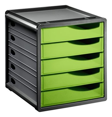 "Rotho 1106505519 Schubladenbox Bürobox Spacebox aus Kunststoff (PS), 5 geschlossene Schübe, A4-Format, circa"" 33 x 28.5 x 32 cm, Anthrazit/Grün Bürobox, Plastik -"