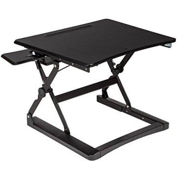 TecTake Sitz- Steh- Schreibtischaufsatz | höhenverstellbar | ergonomisch | 68x80x50 cm | Schwarz -