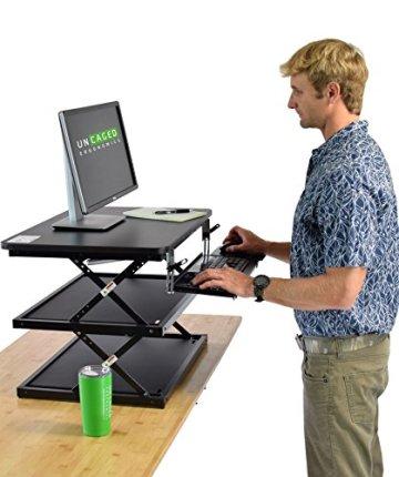 Uncaged Ergonomie changedesk2–Neues Design–Hoch Ergonomische Laptop & Desktop Stehpult Conversion + höhenverstellbar Tastatur Tablett. Einfach sitzen, sich Computer Riser Tisch (schwarz) -