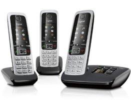 Gigaset C430A Trio Telefon - Schnurlostelefon / 3 Mobilteile - TFT-Farbdisplay / Dect-Telefon - mit Anrufbeantworter / Freisprechfunktion - Analog Telefon - Schwarz - 1