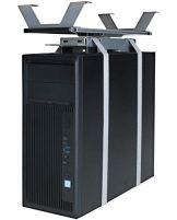 boho möbelwerkstatt Flexibler CPU-Halter, PC Halterung zur Montage unterhalb der Tischplatte ausziehbar sowie um 360 Grad drehbar in Alu/Grau - 1