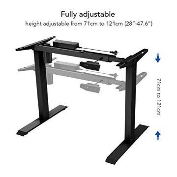 Flexispot E1B Höhenverstellbarer Schreibtisch Elektrisch höhenverstellbares Tischgestell 2-Fach-Teleskop, mit Memory-Steuerung (Schwarz) - 3