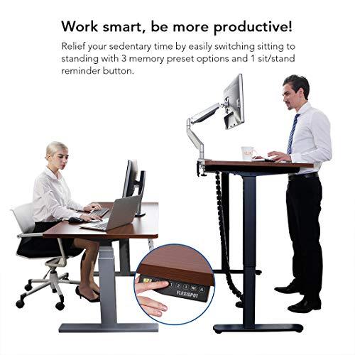 Flexispot E1B Höhenverstellbarer Schreibtisch Elektrisch höhenverstellbares Tischgestell 2-Fach-Teleskop, mit Memory-Steuerung (Schwarz) - 5