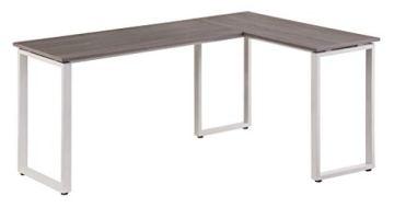hjh OFFICE 674170 Eckschreibtisch WORKSPACE Basic Grau/Weiß Schreibtisch in Holzoptik mit Stahl-Gestell 165 x 120 cm - 3
