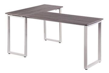 hjh OFFICE 674170 Eckschreibtisch WORKSPACE Basic Grau/Weiß Schreibtisch in Holzoptik mit Stahl-Gestell 165 x 120 cm - 5