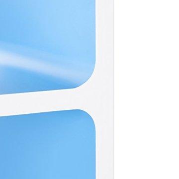 Relaxdays Wandregal mit 3 Fächern, offenes Cube Schweberegal oder Standregal für Deko, CDs, Bücher, 90x30 cm, weiß-blau - 6