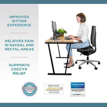bonmedico Orthopädisches Hämorrhoiden-Sitzkissen mit innovativer Gel-Schicht, Sitzring wirkt schmerzlindernd, auch zur Steißbein-Entlastung für Auto, Sofa, Büro & Rollstuhl, Normal - 3