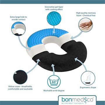 bonmedico Orthopädisches Hämorrhoiden-Sitzkissen mit innovativer Gel-Schicht, Sitzring wirkt schmerzlindernd, auch zur Steißbein-Entlastung für Auto, Sofa, Büro & Rollstuhl, Normal - 5