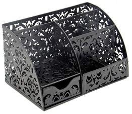 Schreibtisch-Organizer mit Blumenmotiv-Ausschnitt mit 5 Fächern und 1 Schublade, Kollektion Caddy Schwarz - 1